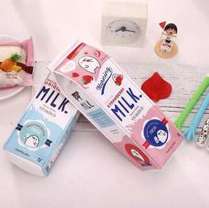 Cute Milk Cartoon Pencil Case -paperhouse