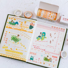 Load image into Gallery viewer, Grid Floral Cute Paper Masking Washi Tape Set - 3m *10 pcs/lot