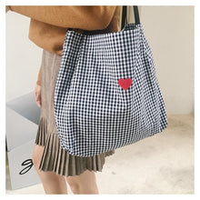 Load image into Gallery viewer, Heart + Plaid Tote Bag -paperhouse