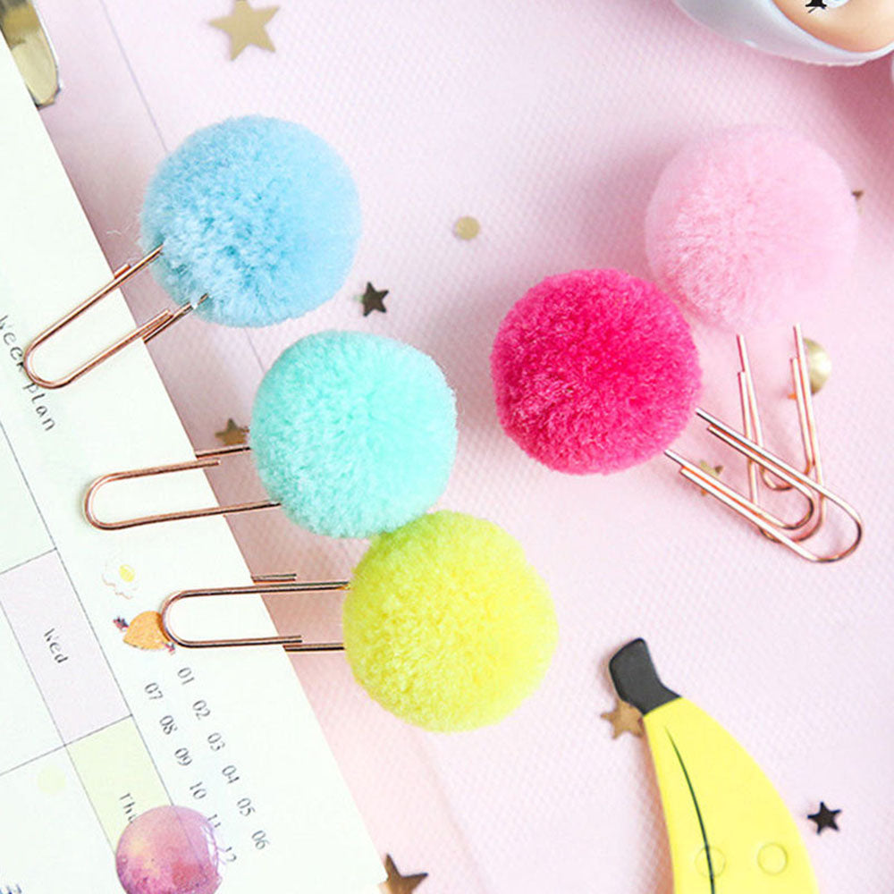 Rose Gold Pom Pom PaperClip - 10pcs