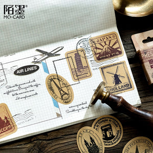 Mini Stamp Vintage Paper Stickers - 46pcs/box