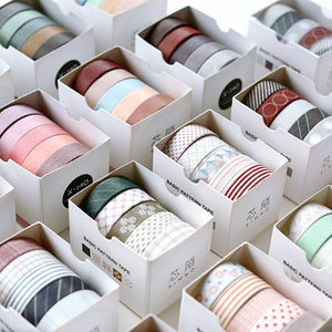 🥈Natural Color Washi Tape with Shape - 10mm* 5m* 5 Pcs