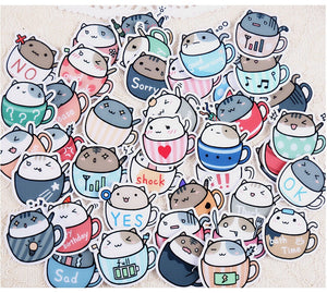Creative Cute Coffee Cup Cat Sticker-20 Pcs -paperhouse