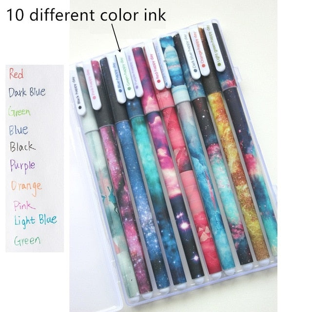 Galaxy Color Gel Pen-10 Pcs -paperhouse
