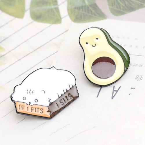 🥈2019 New Enamel Avocado&Cat Cute Pin/Badge -2 pcs