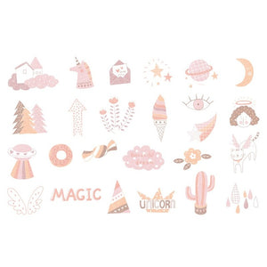 Character Animal Music Travel Stickers - 50 Pcs
