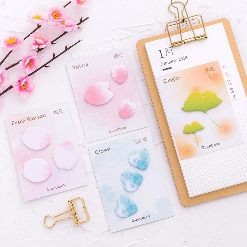 Sakura Petal Self-Adhesive Memo Pad Sticky Notes - 4 Pcs