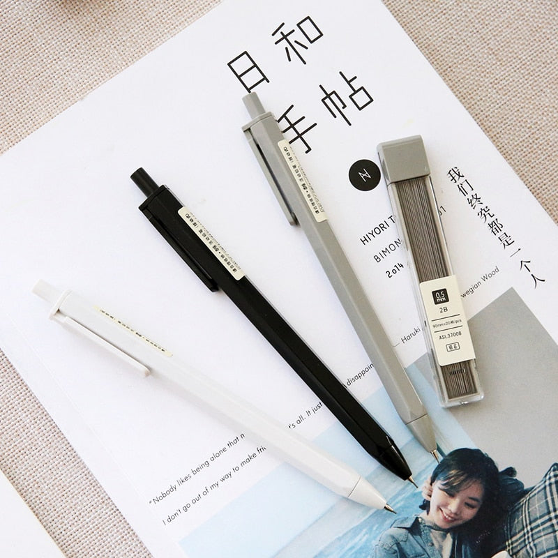 MUJI Style Mechanical  Pencils - 2 Pens + 4 Leads