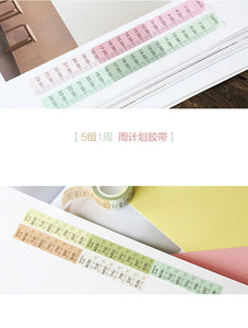 Weekday and Clock Time Washi Tape - 7m *2 Pcs