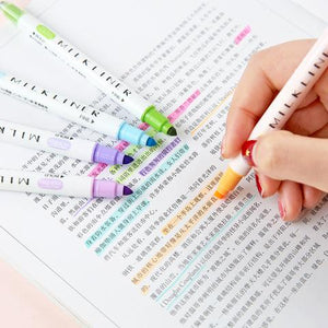 Double Sided 'Milkliner' Style Highlighters - 12pcs
