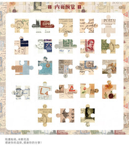 Retro Jigsaw Stickers - 46pcs/box