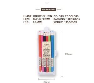 Kawaii Color Ink Gel Pen - 12pcs/lot