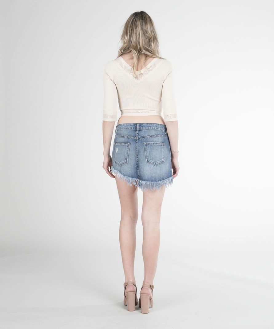 Slanted Hem Mini Skirt (Tillbury Wash)