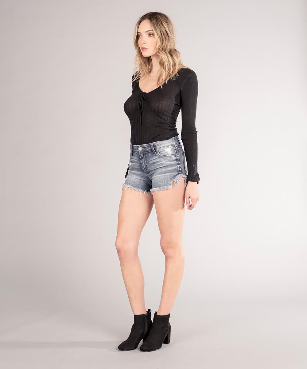 Boyfriend Tulip Fray Hem Short (Lazy Daze Wash)