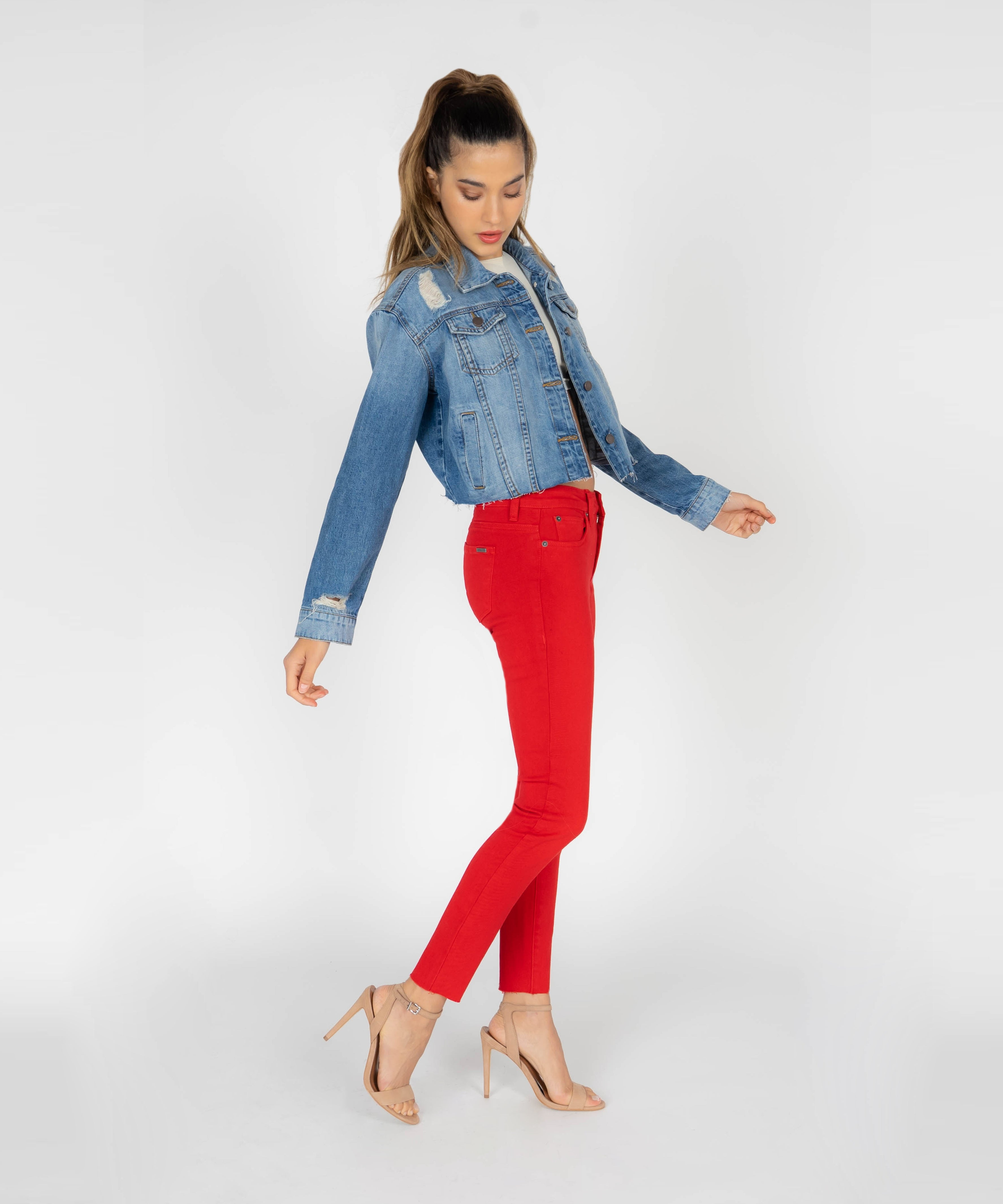 Emma Ankle Skinny With Cut Off Hem (Ruby Red)