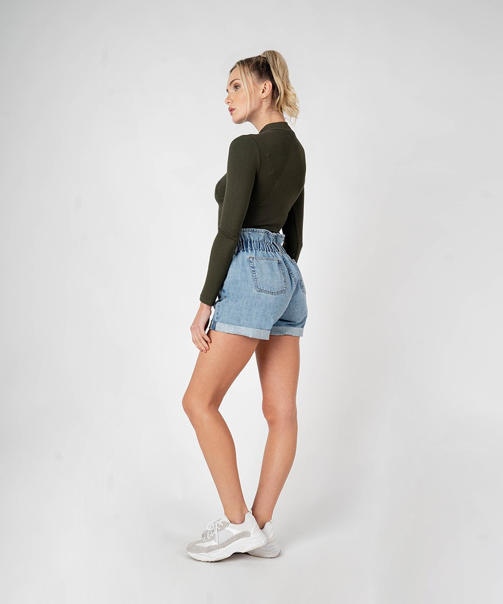Hayley High Rise Paper Bag Short (Bravestone Wash)