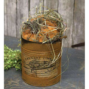 "10"" Stuffed Pumpkin in Grungy Can Tabletop & Decor CWI+"