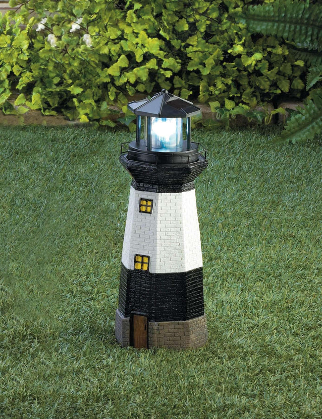 Spinning Solar Powered Lighthouse - The Fox Decor