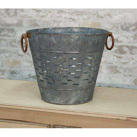 "10.5"" Galvanized Olive Bucket Buckets & Cans CWI+"