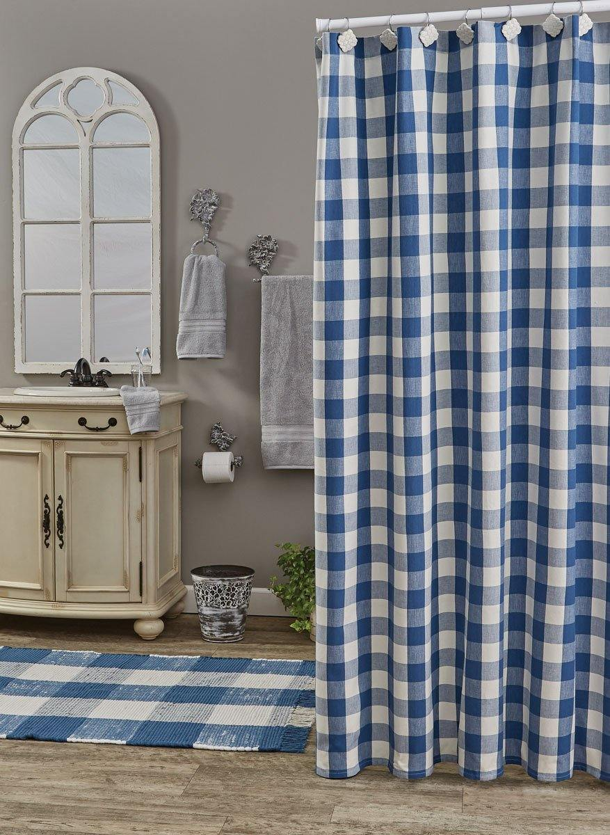 Wicklow Check Cotton Blue Shower Curtain 72