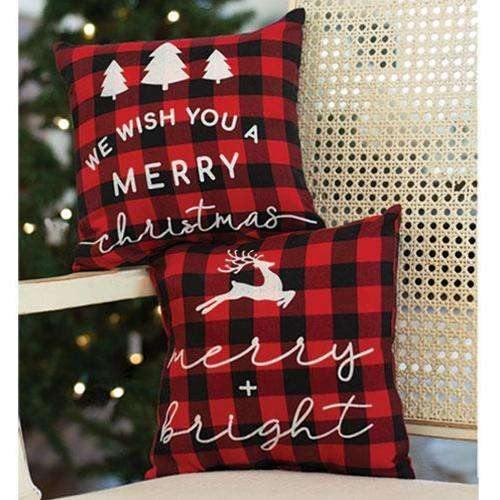 Merry and Bright Buffalo Check Pillow