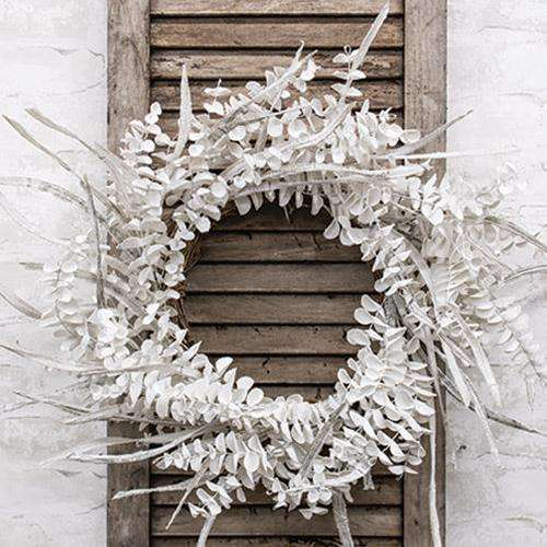 Winter White Sparkle Eucalyptus Wreath 30