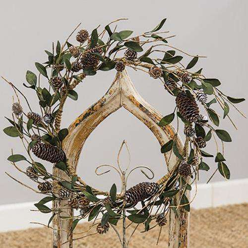 Silver Frosted Pinecone and Leaf Wreath - The Fox Decor