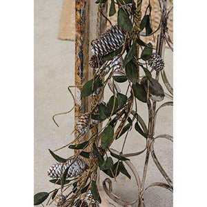 "Silver Frosted Pinecone and Leaf Garland 48"" - The Fox Decor"