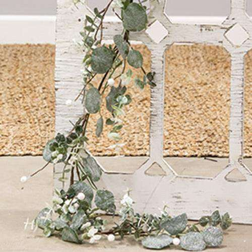 "Glitter Frosted Eucalyptus Garland 48"" - The Fox Decor"