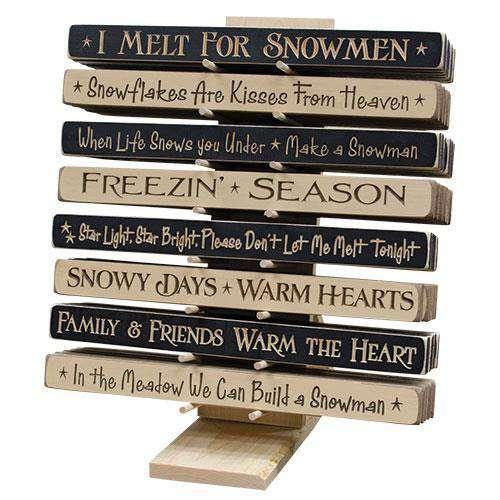 "^18"" Snowman Engraved Sign Assortment Quote Blocks CWI+"