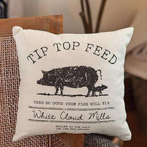 Tip Top Feed Farmhouse Pillow