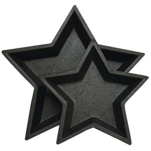 2/Set, Black Nesting Stars Wood CWI+