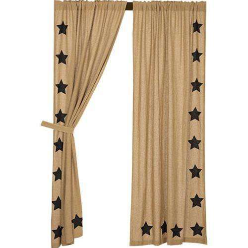 2/Set, Black Star Burlap Panels 84