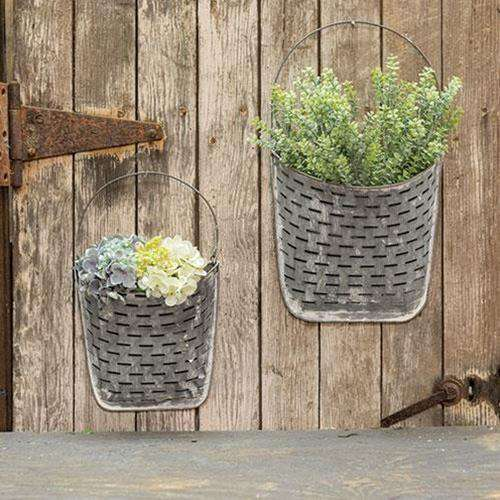 2/Set, Galvanized Olive Wall Pockets Containers CWI+