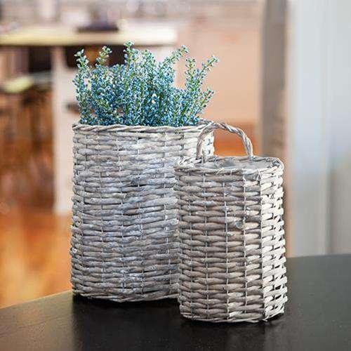 2/Set Gray Willow Oval Baskets Baskets CWI+