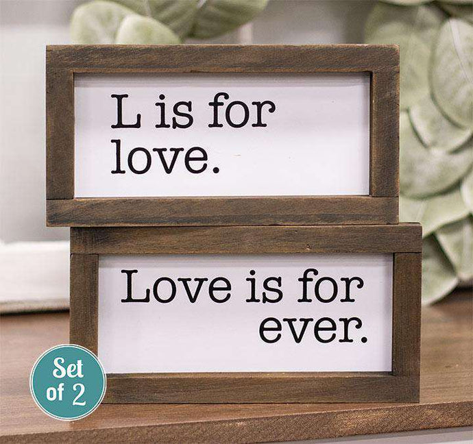 2/Set, L Is For Love Framed Duo Signs Farmhouse Signs CWI+