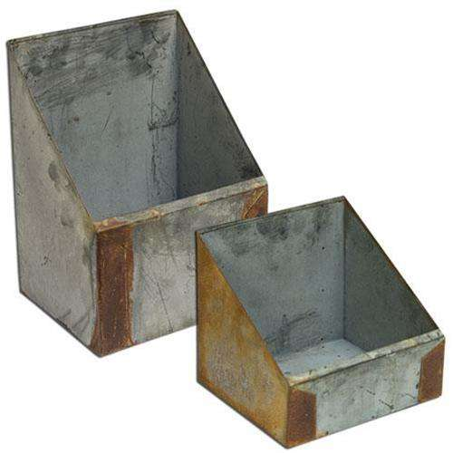 2/Set, Rusty & Galvanized Boxes Containers CWI+