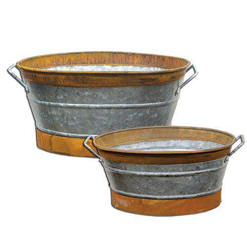 2/Set, Rusty Galvanized Buckets Buckets & Cans CWI+