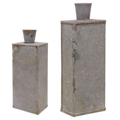 2/Set, Washed Galvanized Bottle Vases Containers CWI+