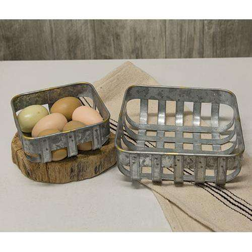 2/Set Washed Galvanized Metal Baskets Baskets CWI+