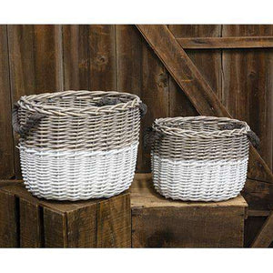 2/Set, White Dipped Grain Baskets Wall Baskets & Sculptures CWI+