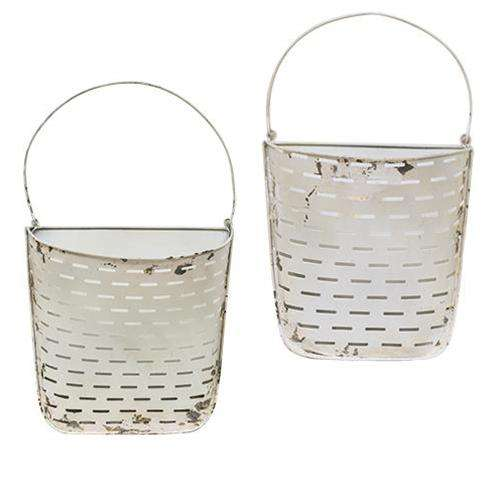 2/Set, White Olive Wall Pockets Containers CWI+