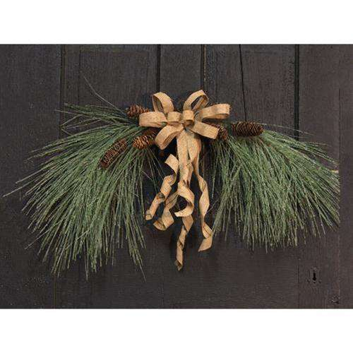 "30"" Icy Needle Pine Arch Swag w/Bow Christmas CWI+"