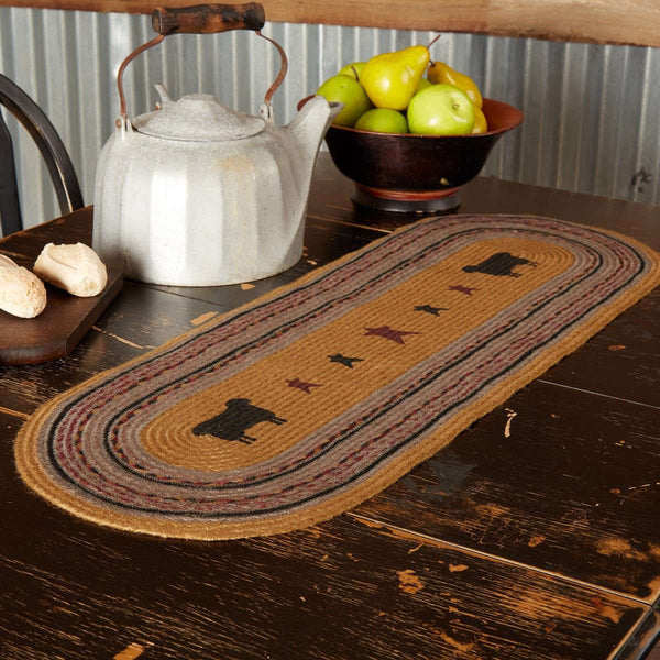 Heritage Farms Sheep Jute Braided Table Runner back