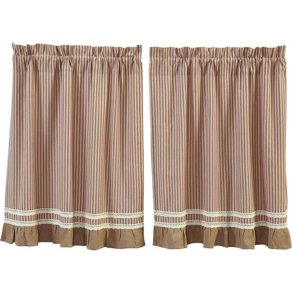 Kendra Stripe Red Tier Curtain VHC Brands - The Fox Decor