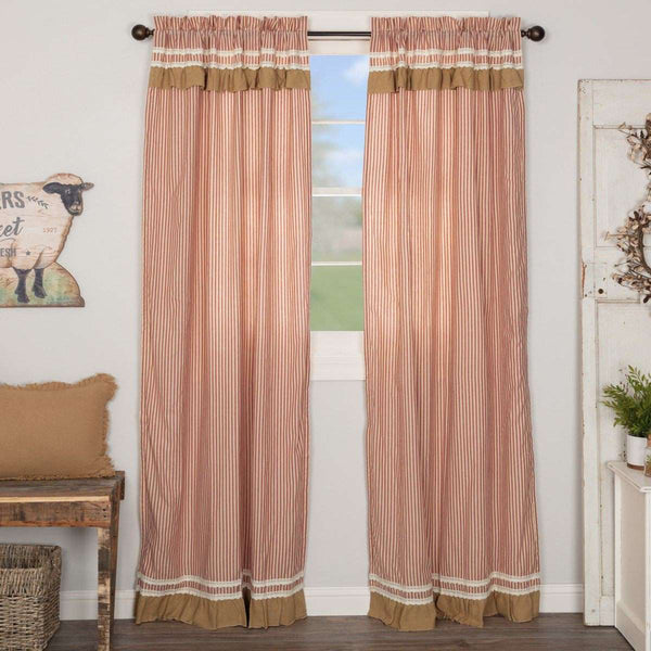 "Kendra Stripe Parchment, Brick Red Panel Country Curtain Set of 2 84""x40"" - The Fox Decor"