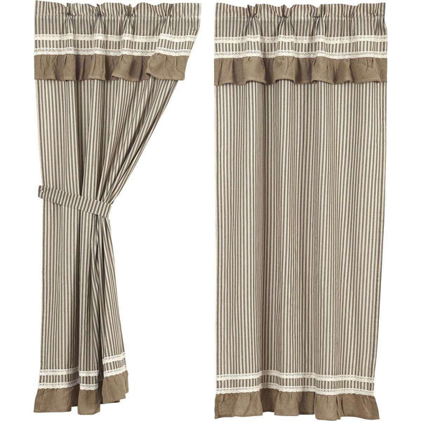 "Kendra Stripe Black Short Panel Curtain Set of 2 63""x36"" VHC Brands - The Fox Decor"