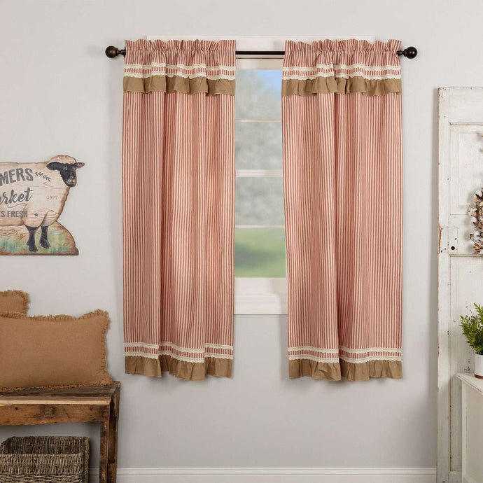 Kendra Stripe Red Short Panel Curtain Set of 2 63