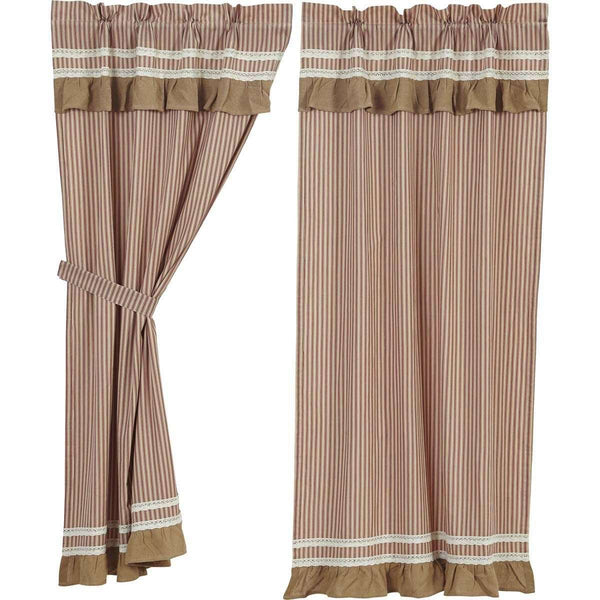"Kendra Stripe Red Short Panel Curtain Set of 2 63""x36"" VHC Brands - The Fox Decor"