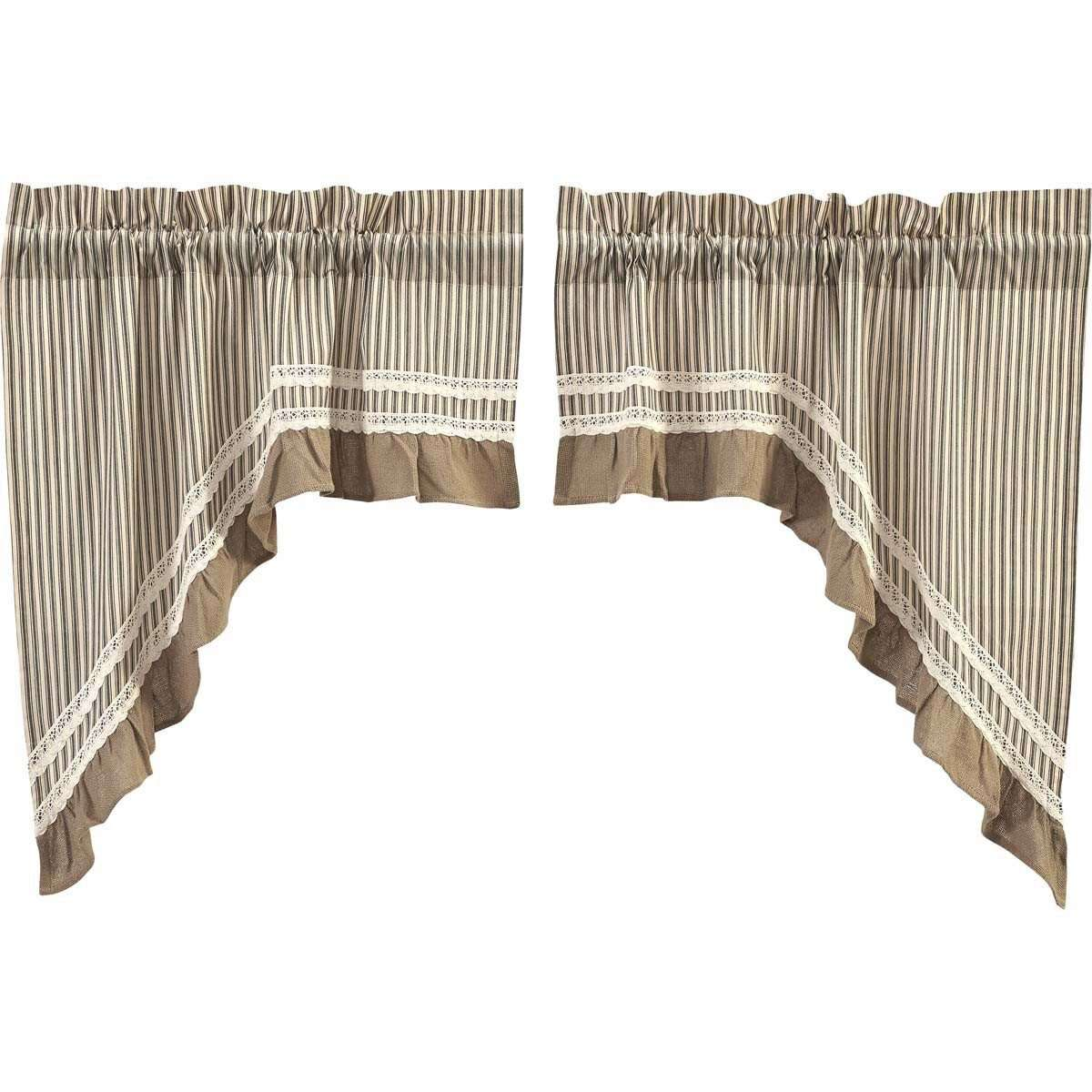 Kendra Stripe Cream, Black Swag Curtain Set 36